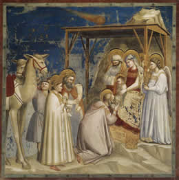 Adoration of the Magi by Giotto di Bondone - click for full size.