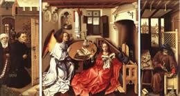The Mérode Altarpiece seen in Peter Watt's Study - click for full size.