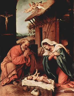 Lorenzo Lotto's Nativity as seen in Peter Watt's Study - click for full size.