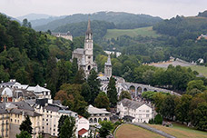 Lourdes with the Rosary Basilica - click for full size.