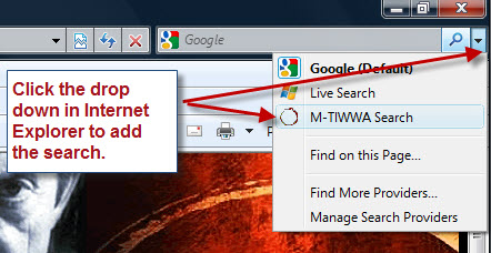 Installing the M-TIWWA Search tool for Internet Explorer.