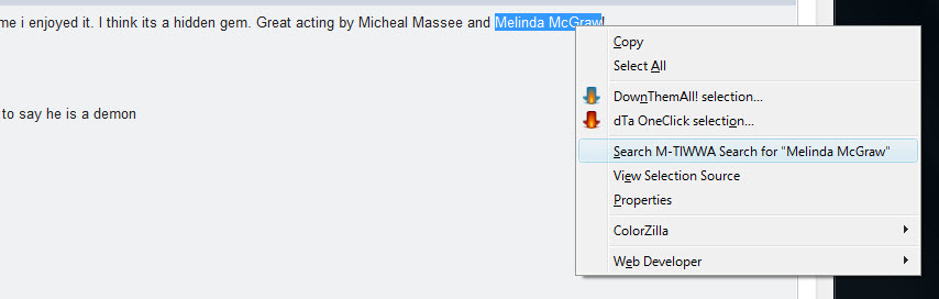 using the right-click Context Menu with the M-TIWWA Search tool.