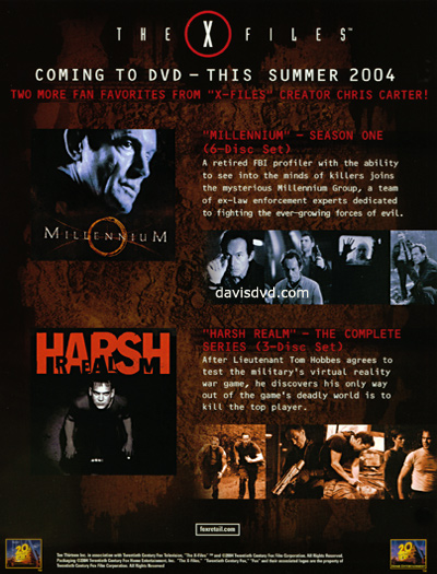 Advertisement for Millennium Season 1 DVD.